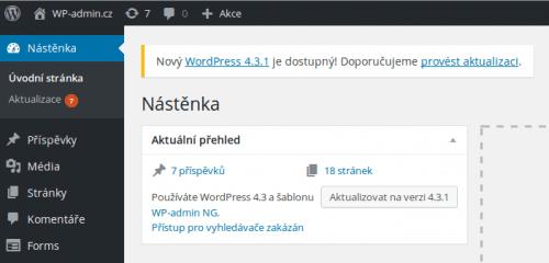 WordPress a dostupná aktualizace