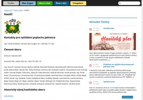 Příklad na webu Grygov.cz