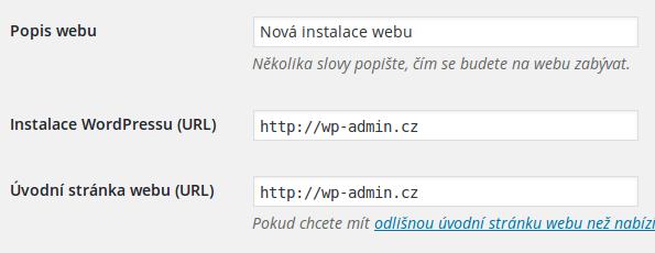 nastaveni adresy webu