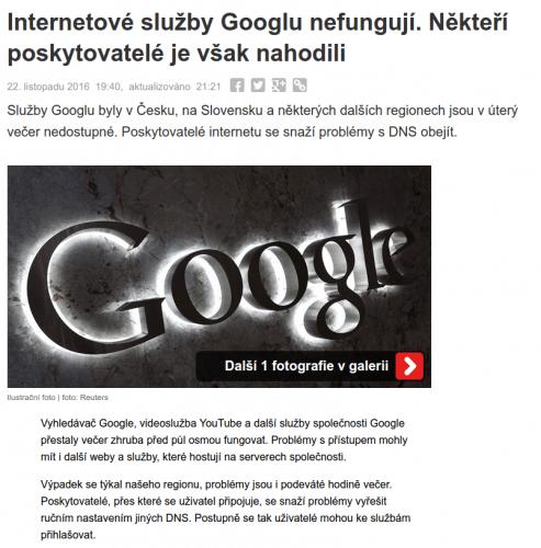 google-vypadek