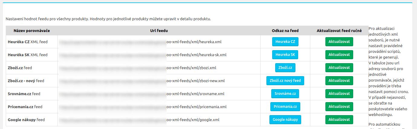 Část nastavení pluginu, který generuje XML feedy