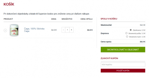 Nákupní košík ve slovenské verzi, výběr Zásilkovna