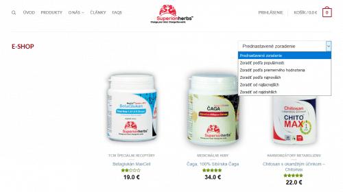 E-shop ve slovenské verzi, výběr zobrazení produktů