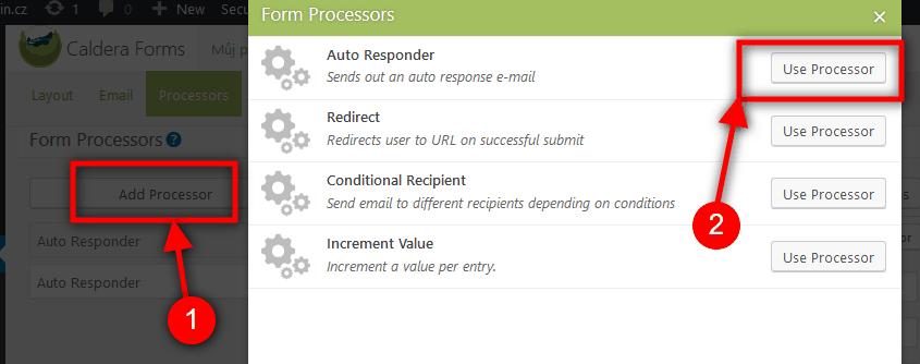Přidání procesu Auto Responder
