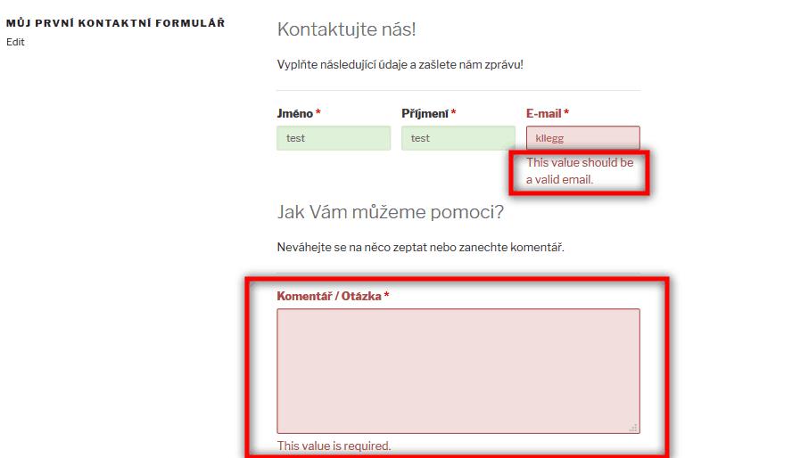 Neplatná položka formuláře