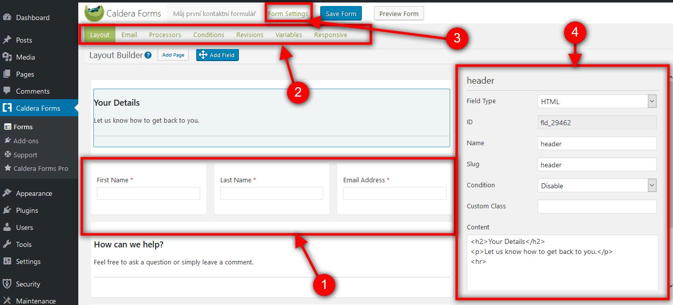 Popis formuláře
