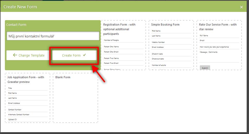 Vytvoř nový formulář v Caldera Forms