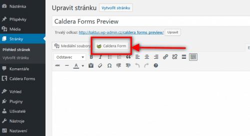 Přidání formuláře přímo v editoru stránky