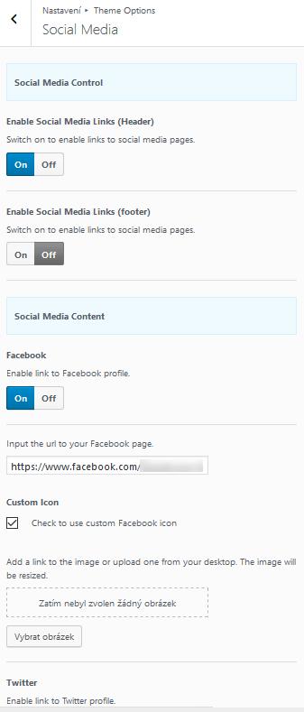 Nastavení ikon a odkazů sociálních sítí