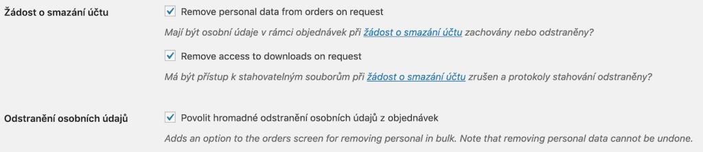 Extra nastavení pro výmaz osobních údajů z WooCommerce obchodu