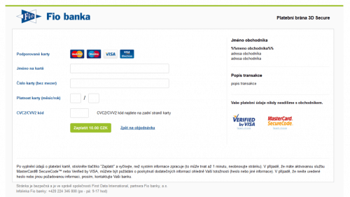 Platební brána FIO banky - ukázka