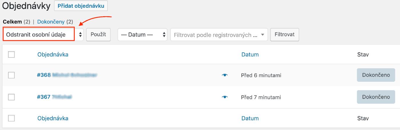 Hromadný výmaz osobních dat z objednávek zákazníků ve WooCommerce obchodu