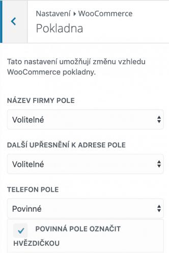Nastavení volitelných polí ve WooCommerce