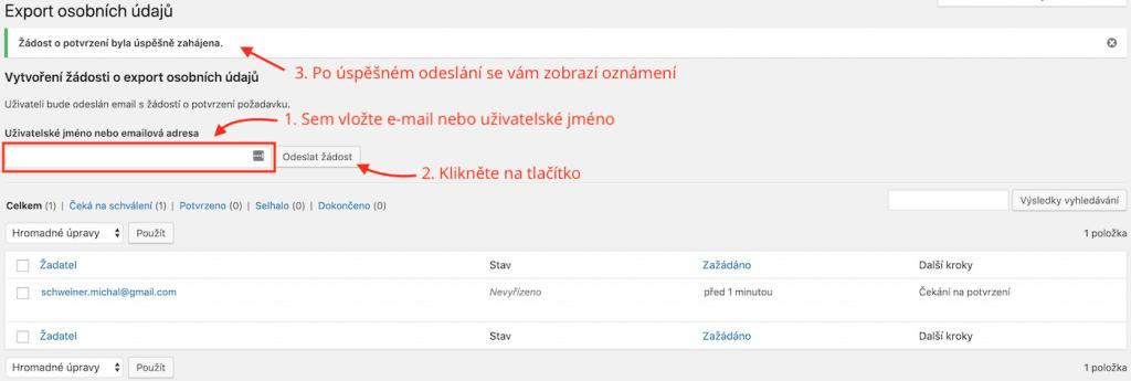 Postup exportu osobních údajů z WordPressu