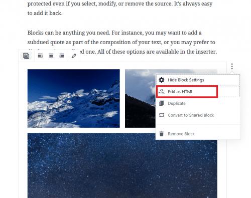 Nástroje bloku fotogalerie: přepnutí do HTML.