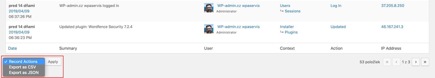 Export záznamů v JSON nebo CSV