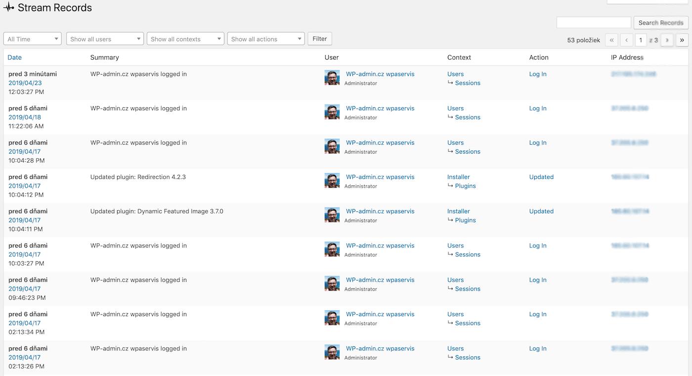 Záznamy pluginu Stream