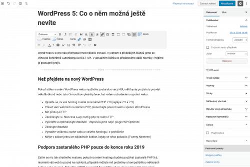 WordPress 5 Gutenberg editor v adminu