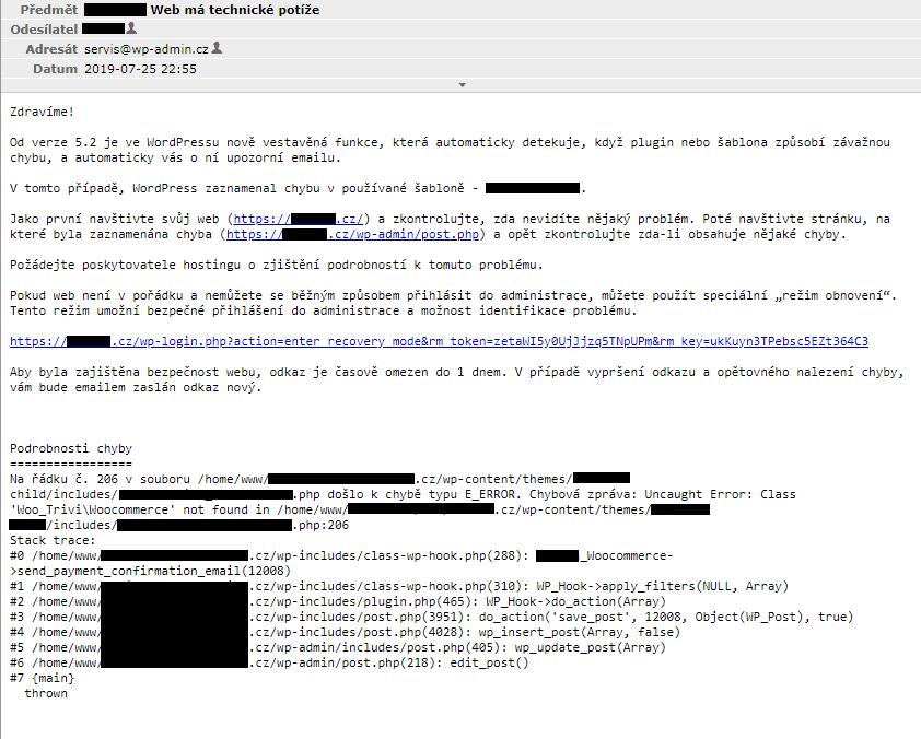 WordPressem automaticky zaslaný e-mail v případě problémů na webu