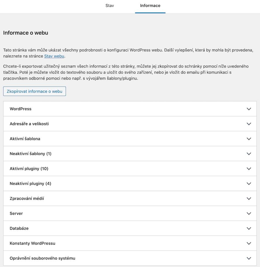 Detailní informace o stavu WordPress webu
