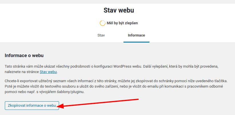 Informace o nastavení webu můžete snadno uložit do souboru
